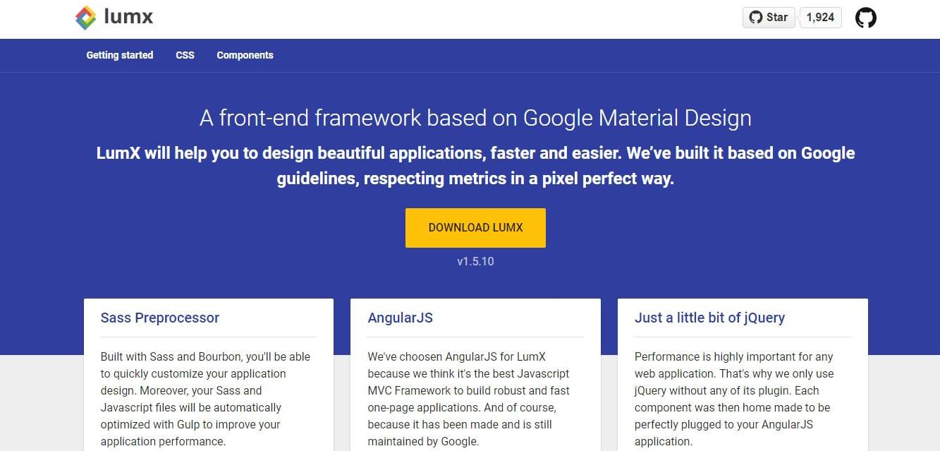 LumX Material design frameworks