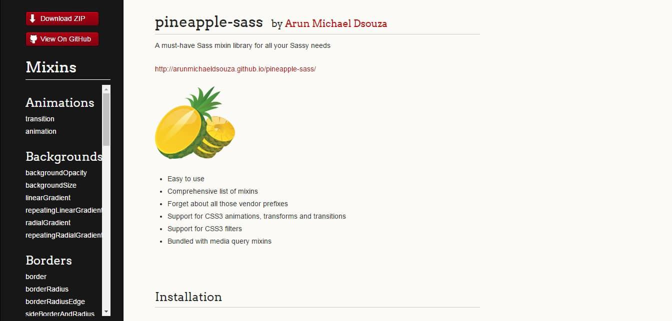 Pineapple sass Mixins Libraries