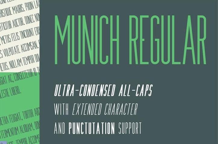 Munich free condensed Font