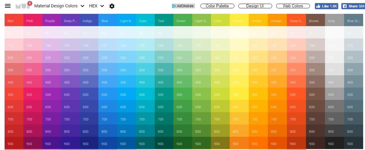 Material Design Colors, Material Colors, Color Palette | Material UI