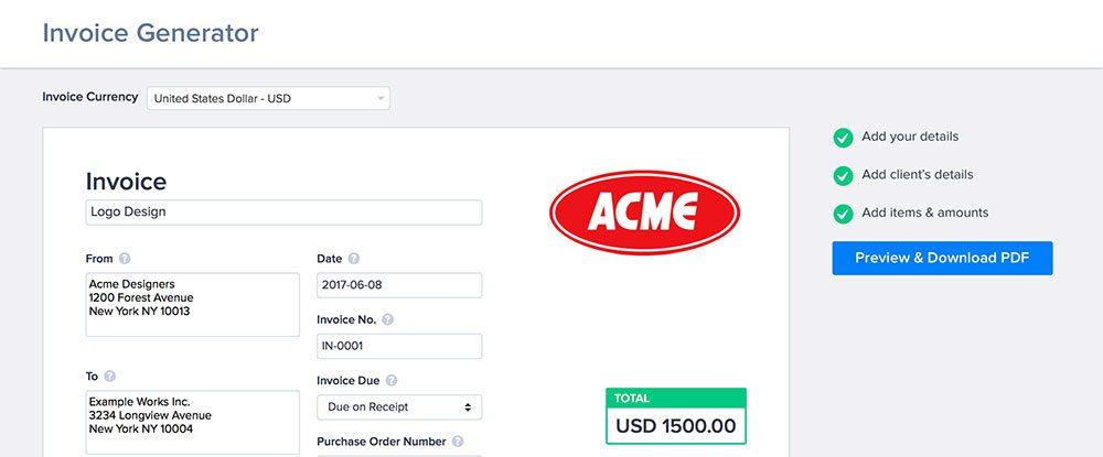 Free invoice generator tool