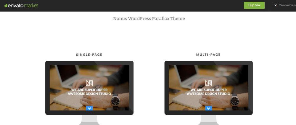 Nonus Parallax Effect WordPress Theme