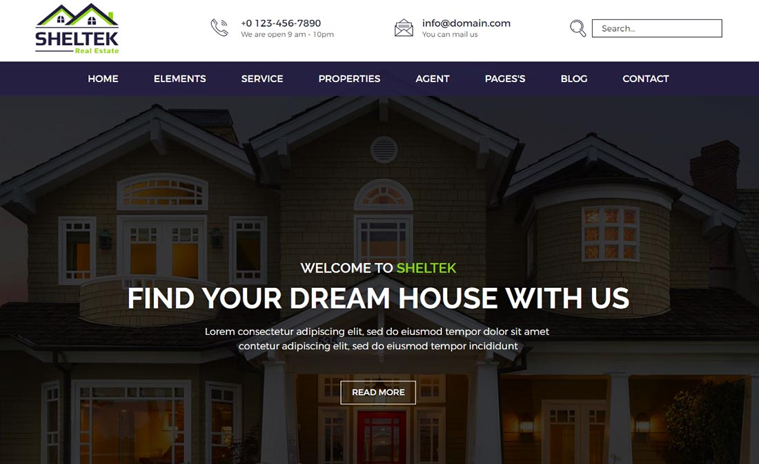 Sheltek Real Estate Website Template