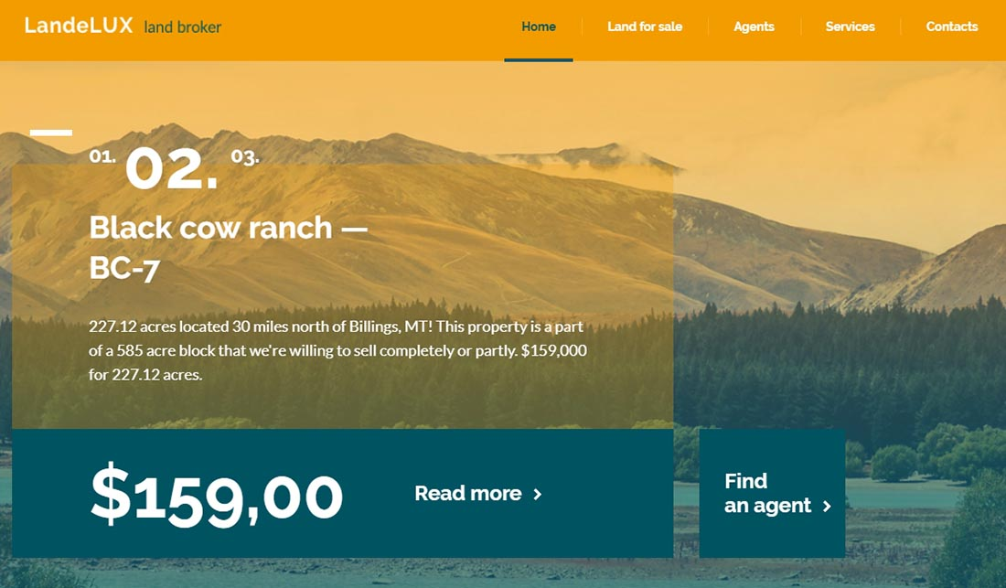 Demo for LandeLux - Land Broker Responsive Website Template