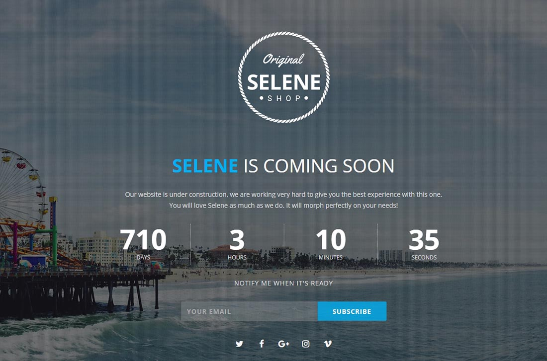 Selene - Responsive Coming Soon Template - PHP