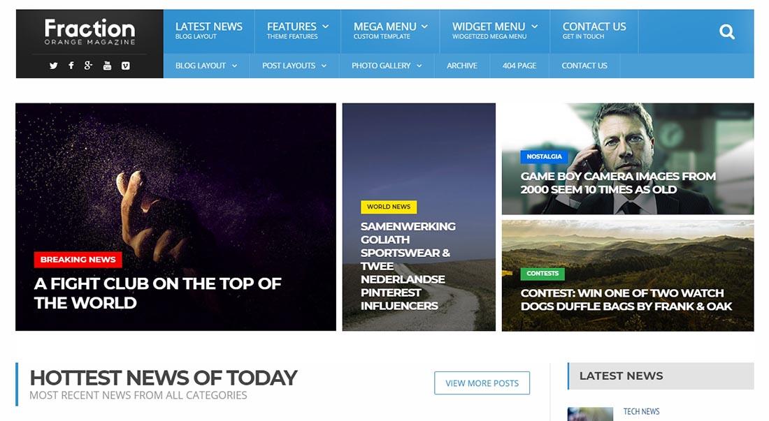Fraction - Multipurpose News, Magazine HTML Template