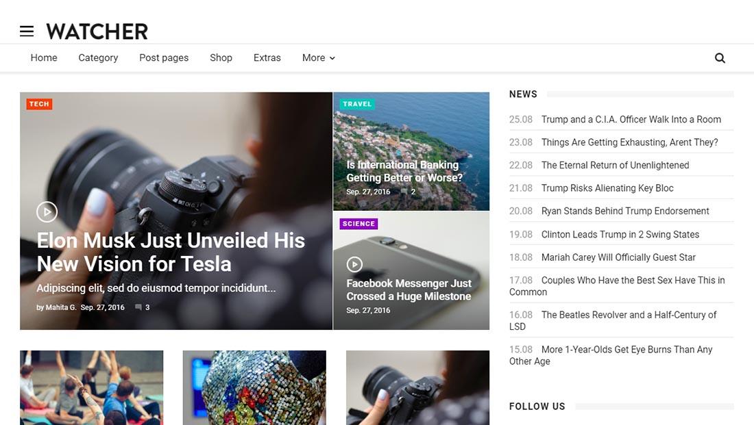 Watcher - News Magazine HTML Template
