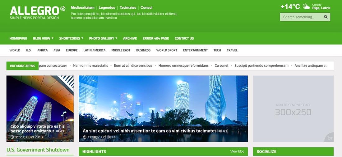 Allegro - Multipurpose News, Magazine HTML Template