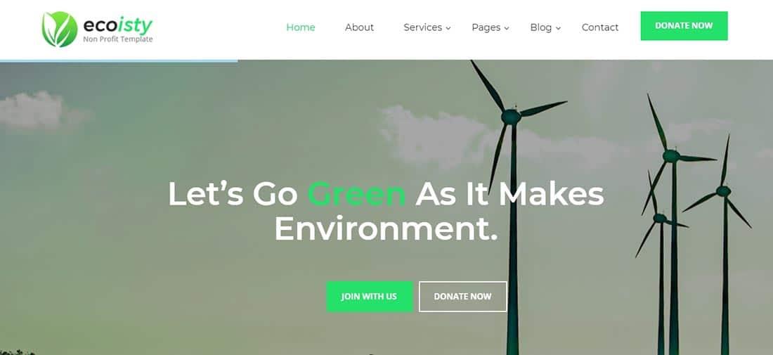 Ecoisty Non Profit Website Template