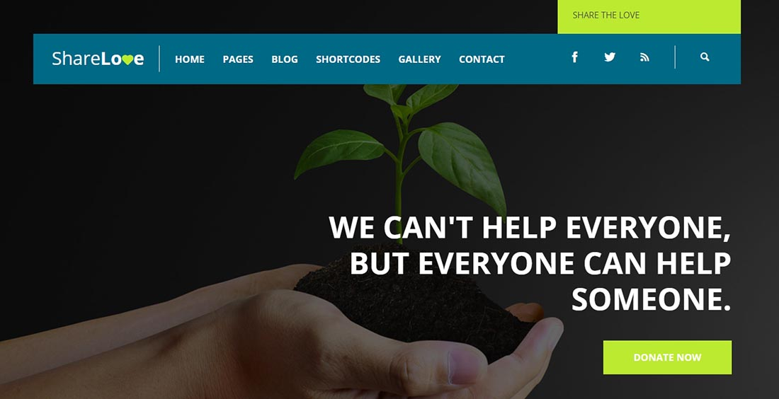 ShareLove Non Profit Website Template