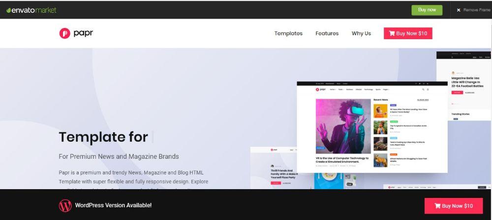 Papr- News Website Template