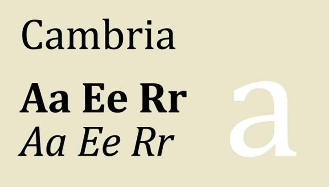 17 Cambria Worst Font