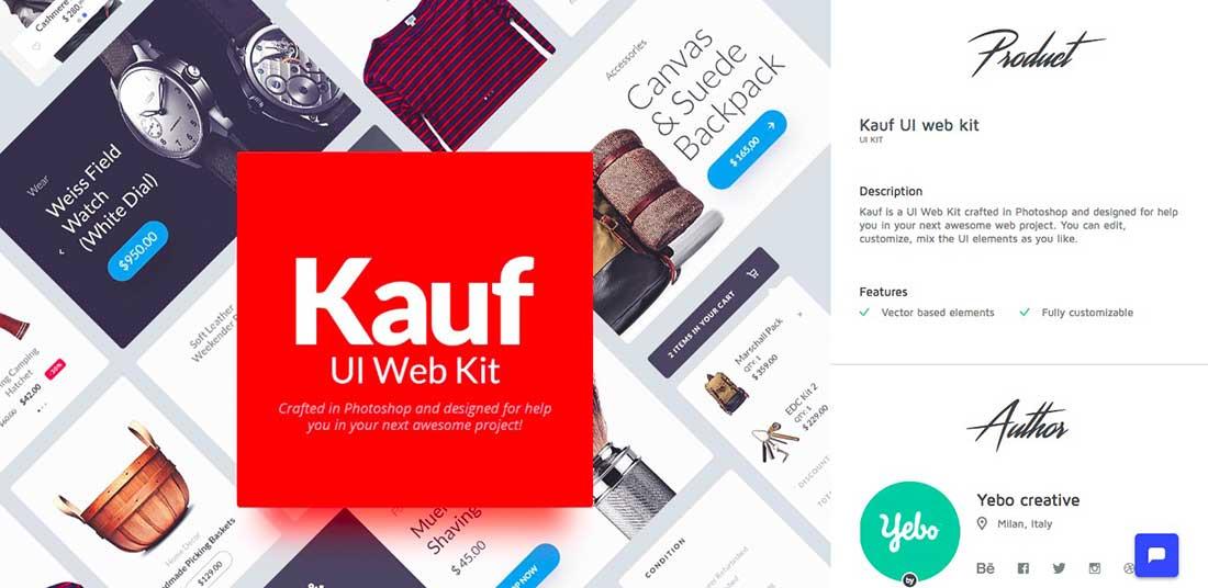 1 Kauf- Free web UI kit for Photoshop UI components