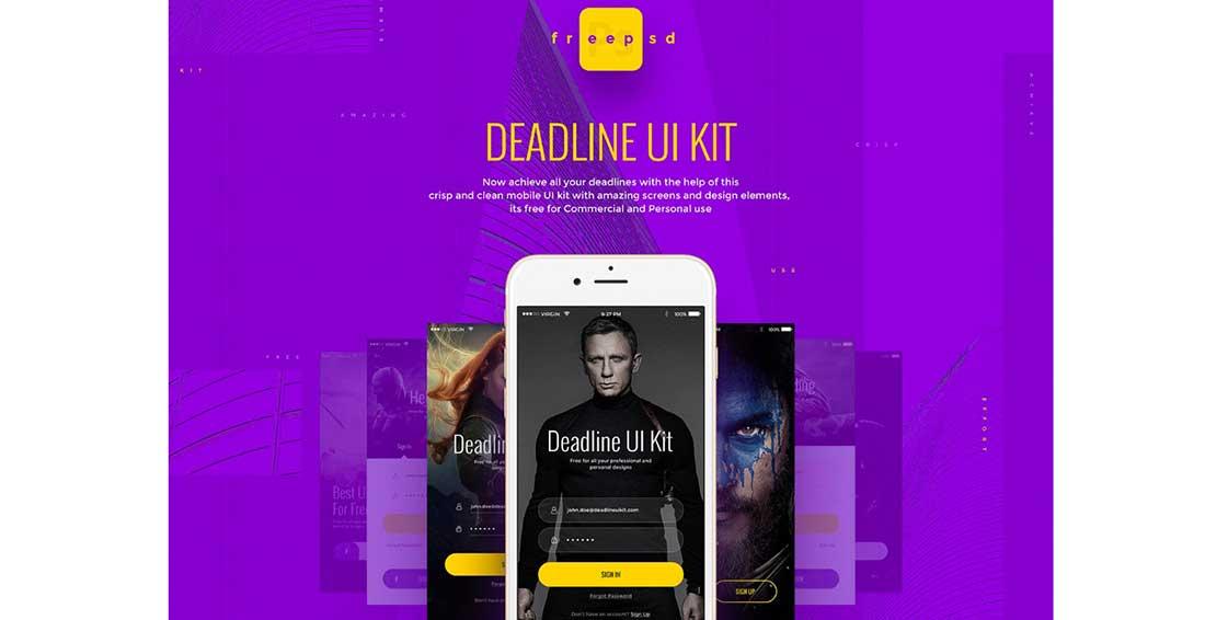 14 Deadline- Free UI kit for Photoshop