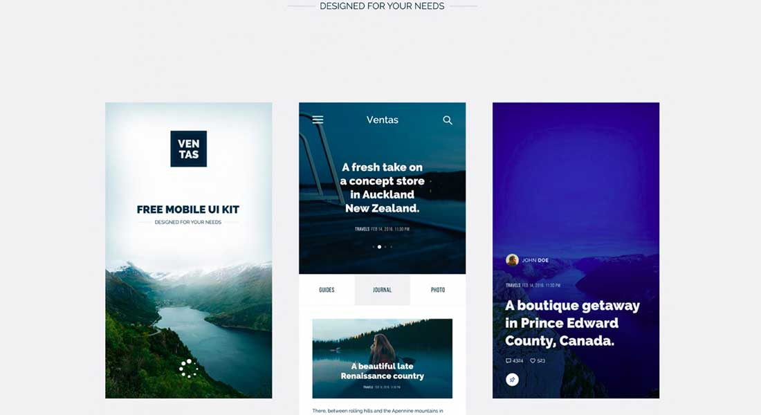18 Ventas- Mobile UI kit for travel magazines