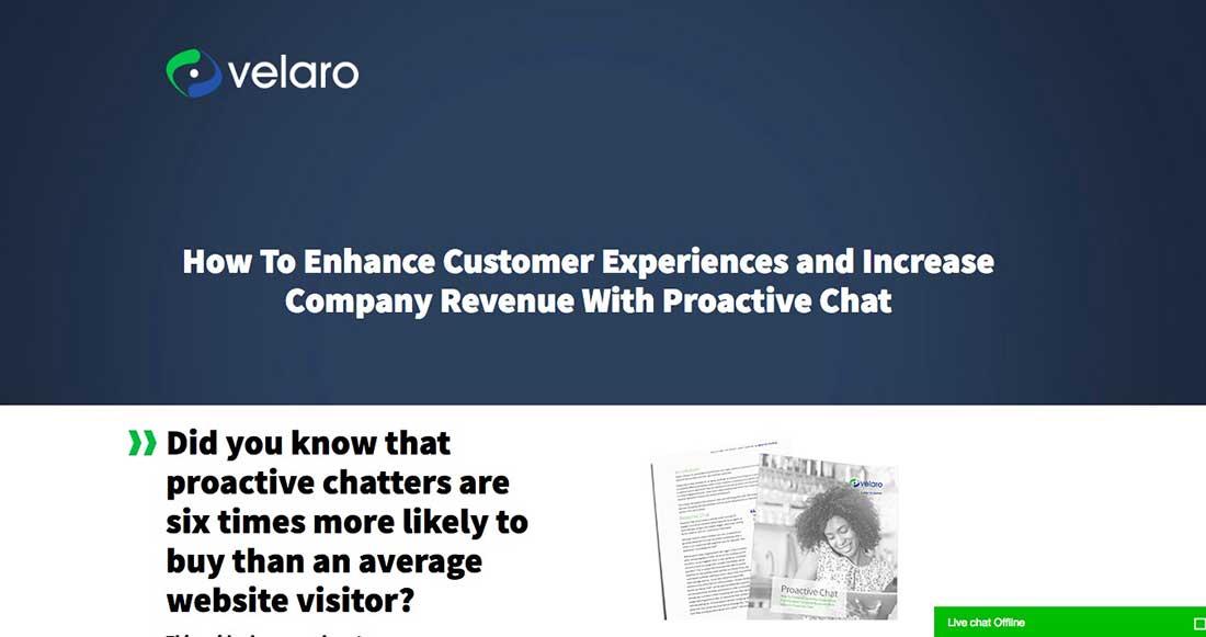 20 Velaro Live Chat Landing Page