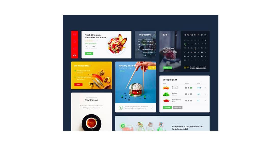 25 Food & Drink UI kit UI components