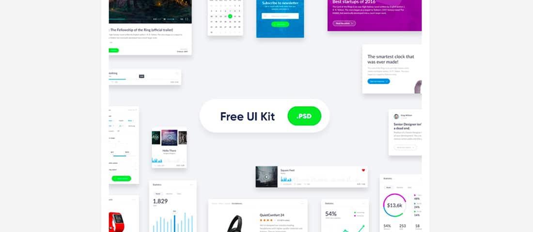 8 Basic widget-style UI kit for websites