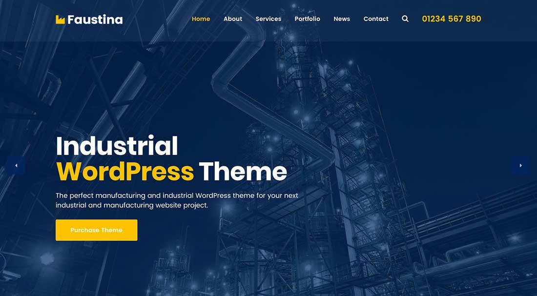 20 Faustina - Industrial WordPress Theme