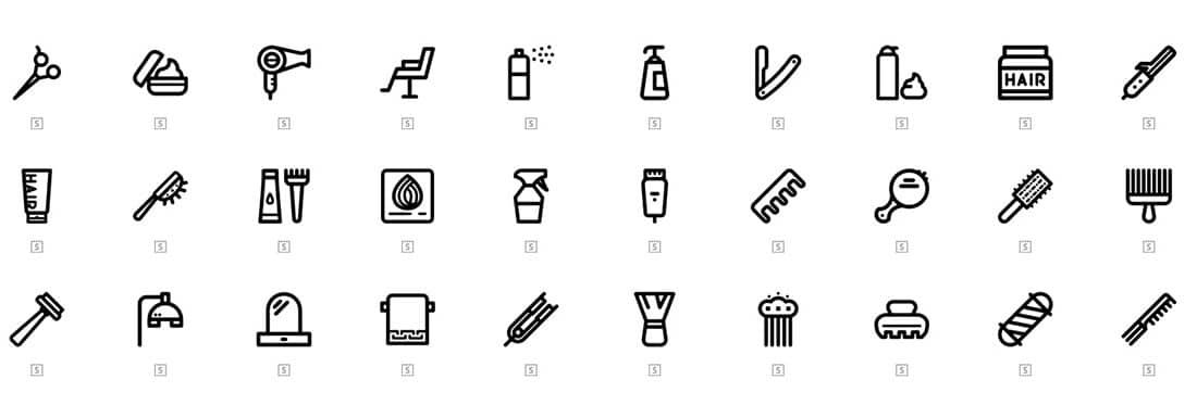 3 30 hair salon outline icons
