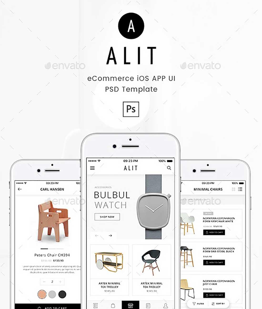 13 Alit - Minimalist eCommerce PSD UI for iOS App