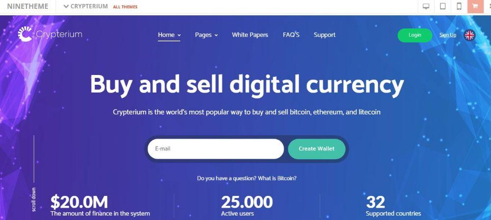 Crypterium - Bitcoin Blockchain WordPress Theme