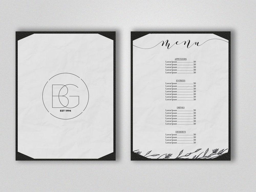 Black and white menu mockup