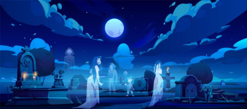 Ghosts on cemetery, old graveyard at dark night Free Vector