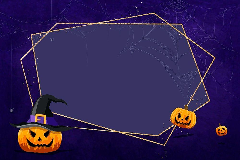 Jack O_Lantern frame on purple background vector