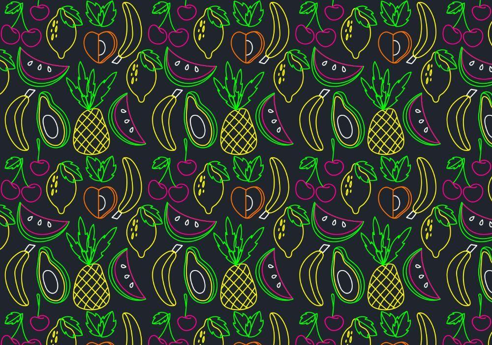 Neon fruit seamless pattern