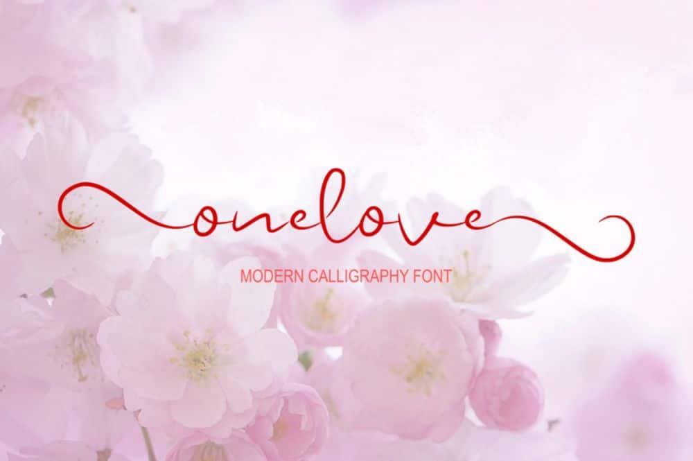 Onelove calligraphy script
