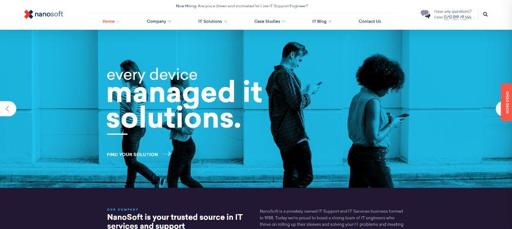 WordPress Themes for SAAS companies: Nanosoft