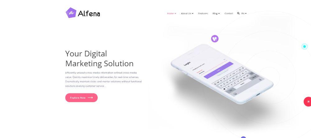 WordPress Themes for SAAS companies: Alfena