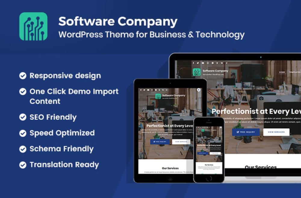 WordPress Themes for SAAS companies: Softwarecompany