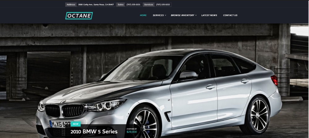 Amazing WordPress Themes for Car Dealers: Octane