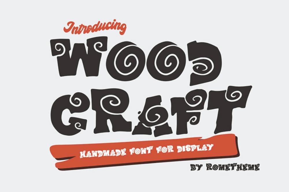 Best Comic fonts for designers: Wood Craft