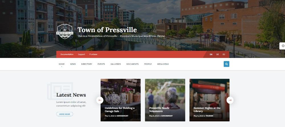 14 WordPress Themes For Government Portals: PressVille