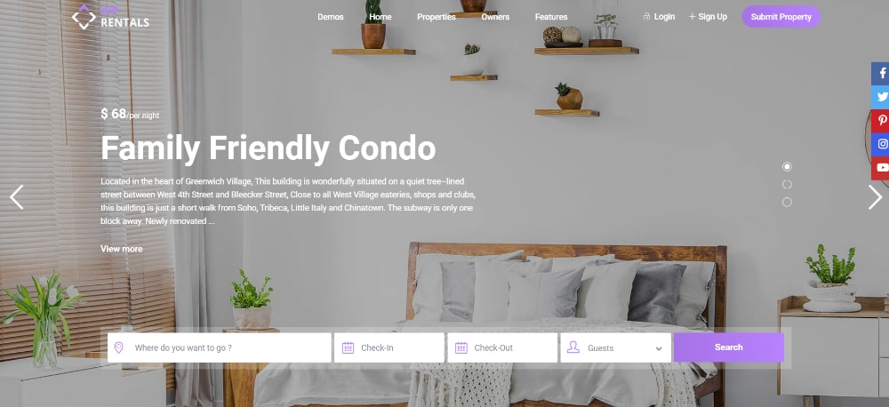 Beautiful WordPress Themes for Vacation Rental Websites: WP rentals