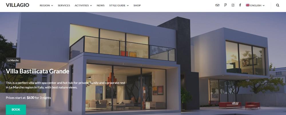 Beautiful WordPress Themes for Vacation Rental Websites: Villagio