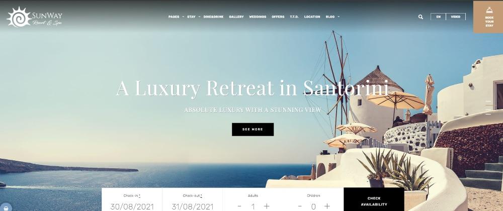 Beautiful WordPress Themes for Vacation Rental Websites: Sunway