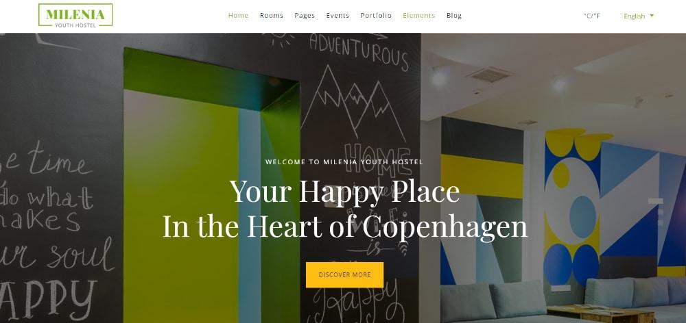 Beautiful WordPress Themes for Vacation Rental Websites: Milenia