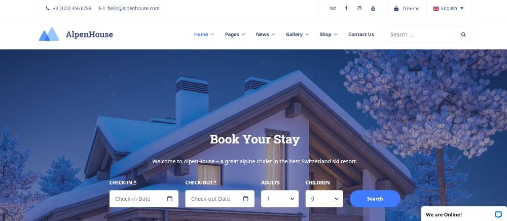 Beautiful WordPress Themes for Vacation Rental Websites: Alpenhouse