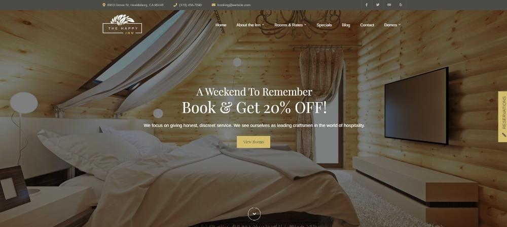 Beautiful WordPress Themes for Vacation Rental Websites: Happy Inn