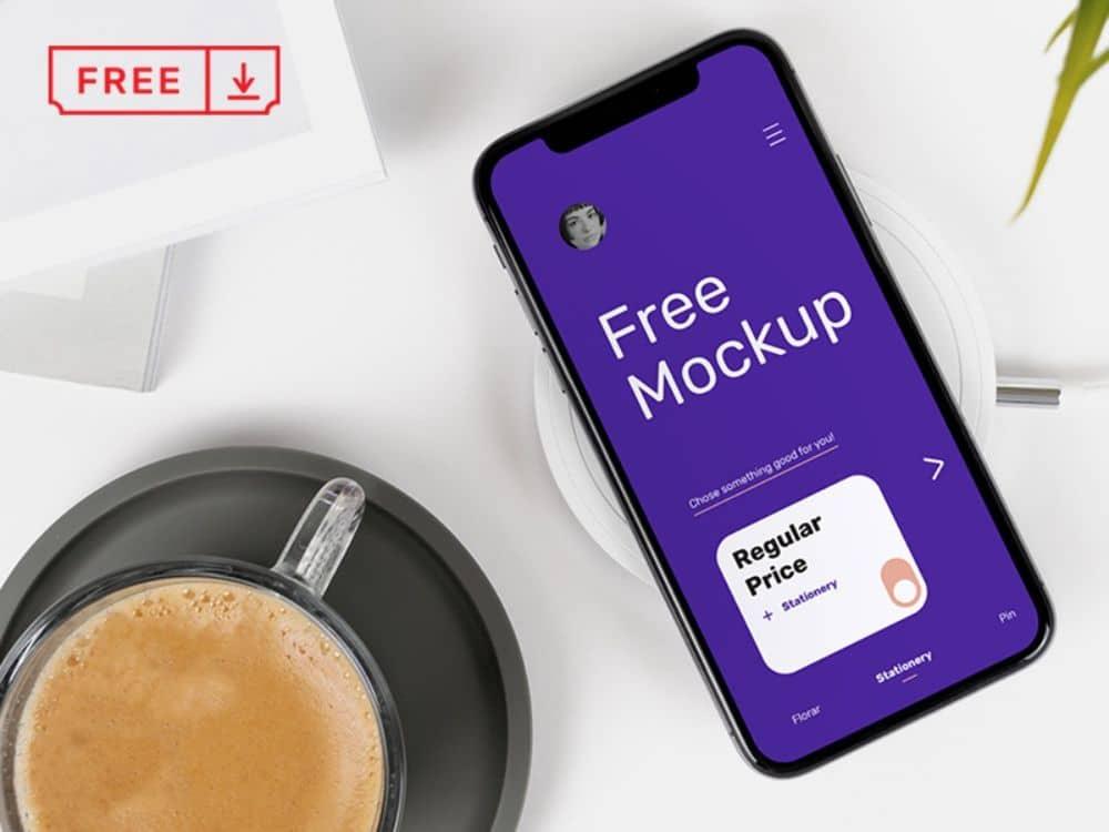 Free Mobile Application Mockups Designers Can Download: Iphone on Desk