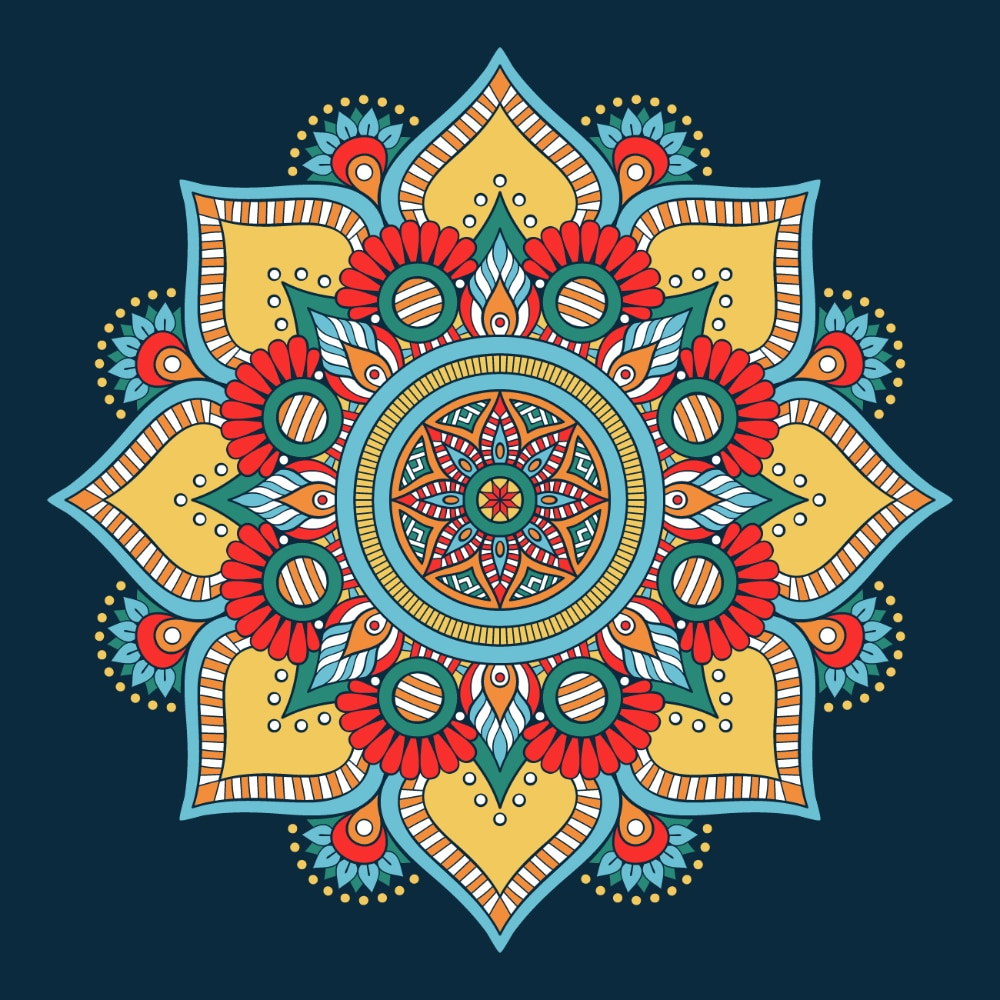 Free Mandala Designs: Bright color